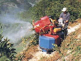 Figure 2 Air-Blast Sprayer Used in Slopeland Orchards, Shikoku, Japan